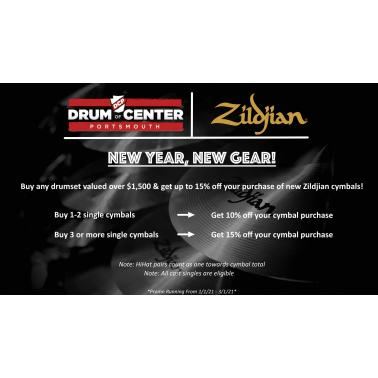 Buy Any Drum Set $1500 or over and Get up to 15% off on Zildjian Cymbals!