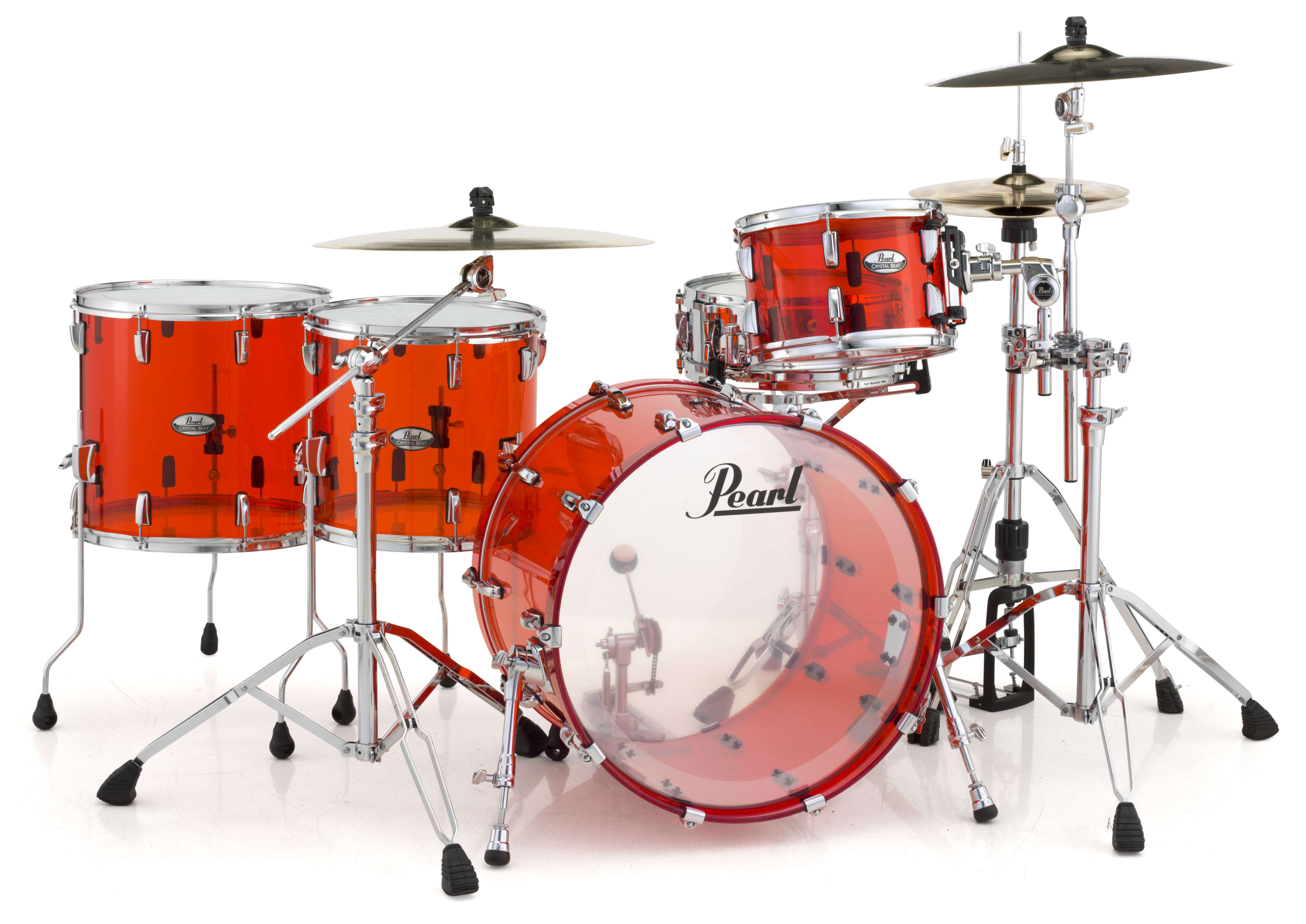 Pearl Crystal Beat Acrylic Drum Set 22 12 14 16 Ruby Red Video