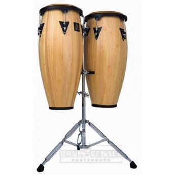 LP Aspire Wood Congas Set with Double Stand - Natural Finish