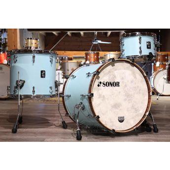 Sonor SQ1 3pc Drum Set 22/12/16 Cruiser Blue w/ Walnut Hoops