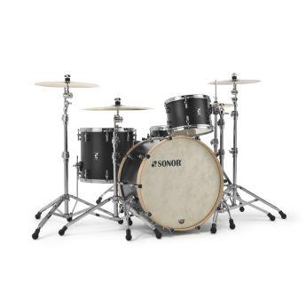Sonor SQ1 3pc Drum Set 24/13/16 Black w/ Natural Hoops