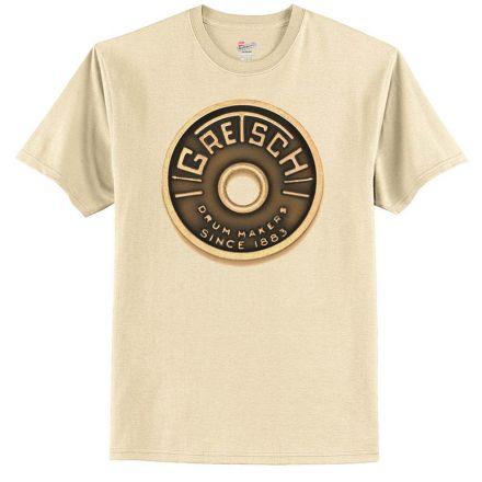 Gretsch Logo T-Shirt - Beige Roundbadge Drum - Small