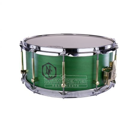 Noble And Cooley Solid Ply 14x6.5 Tulip Snare Drum with Green Oil Finish and Wood Burn Logo