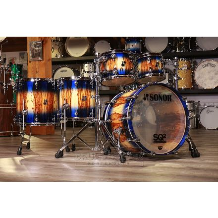 Sonor SQ2 Beech 5pc Drum Set Candy Blue Burst Over African Marble