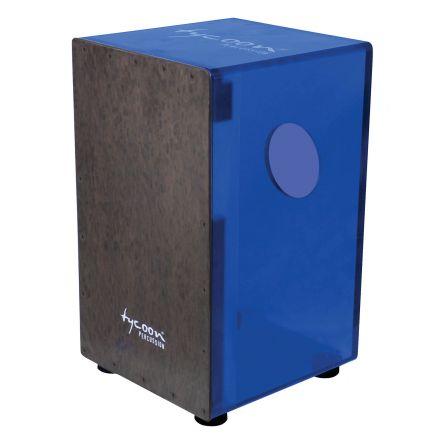 Tycoon 29 Series Royal Blue Acrylic Cajon With Black Makah Burl Front