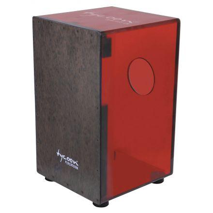 Tycoon 29 Series Cherry Red Acrylic Cajon w/Black Makah Burl Front