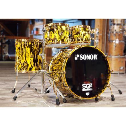Sonor SQ2 Medium Maple 4pc Drum Set Yellow Tribal