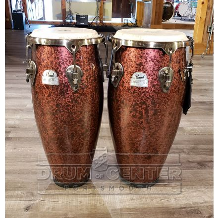 """Pearl Primero Pro Fiberglass Conga Set without stand 10&11"""" - Wine Red Marble - Blowout Deal!"""