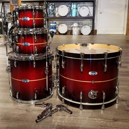 Used Pearl 4pc Masters Maple Complete Drum Set - Natural Banded Redburst