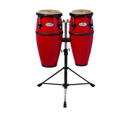Toca Synergy Fiberglass Double Conga Set With Stand - 8 And 9 Inches - Red