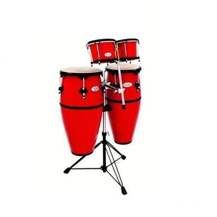 Toca Synergy Conga & Bongo Set w/ Stand - Fiberglass Red