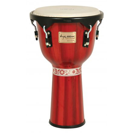 Tycoon Percussion 12 Artist Series Hand Painted Djembe - Red Finish