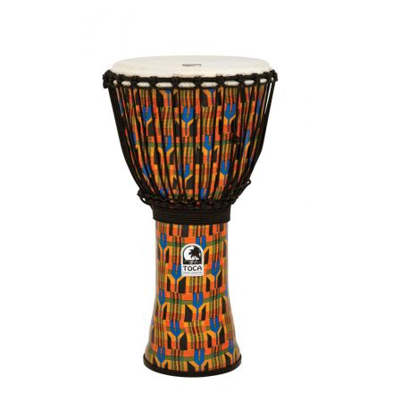 """Toca Freestyle Rope Tuned 12"""" Djembe, Kente Cloth"""