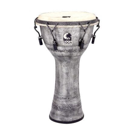 """Toca Freestyle Mechanically Tuned Djembe 10"""" Antique Silver"""