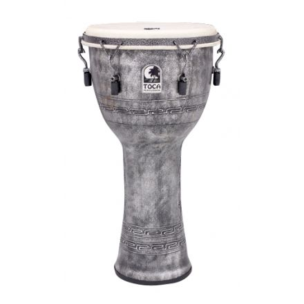 """Toca Freestyle Mechanically Tuned Djembe 12"""" Antique Silver"""