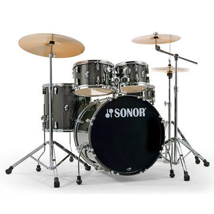 Sonor AQX Stage Drum Set with Hardware - Black Midnight Sparkle