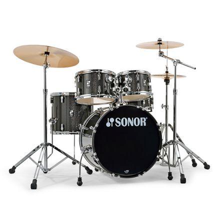 Sonor AQX Studio Drum Set with Hardware - Black Midnight Sparkle