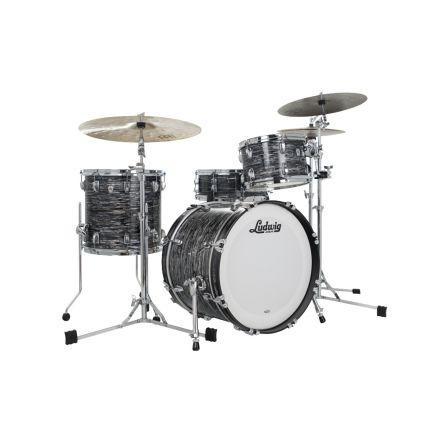 Ludwig Classic Oak 3pc Downbeat Drum Set Vintage Black Oyster