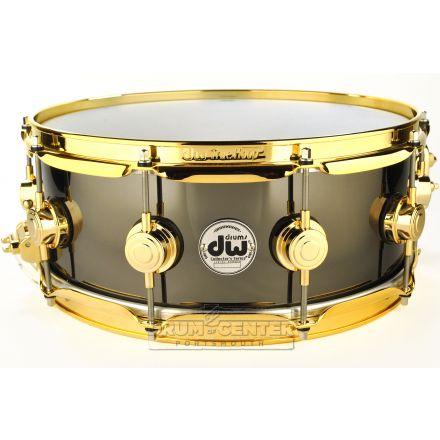 DW Collectors Black Nickel Over Brass Snare Drum 14x5.5 Gold Hardware