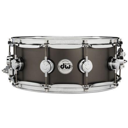 DW Collectors Series Satin Black Brass Snare Drum - 14x5.5 - Chrome Hardware