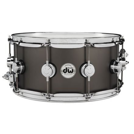 DW Collectors Series Satin Black Brass Snare Drum - 14x6.5 - Chrome Hardware
