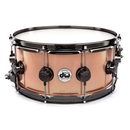 DW Collectors Copper Snare Drum 14x6.5 Knurled w/ Black Nickel Hw