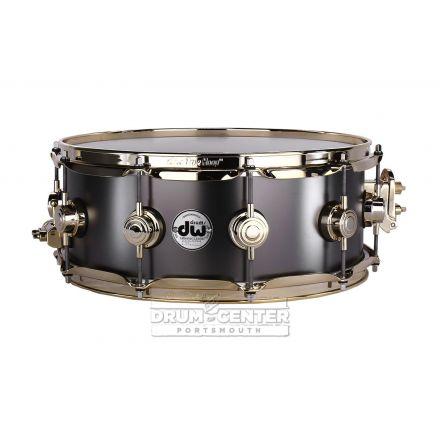 DW Collectors Series Satin Black Brass Snare Drum - 14x5.5 - Gold Hardware