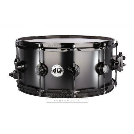 DW Collectors Series Satin Black Brass Snare Drum - 14x6.5 - Black Nickel Hardware