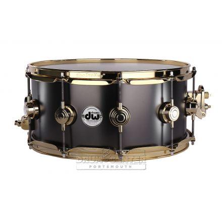 DW Collectors Series Satin Black Brass Snare Drum - 14x6.5 - Gold Hardware