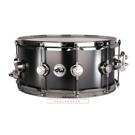 DW Collectors Series Satin Black Brass Snare Drum - 14x6.5 - Nickel Hardware