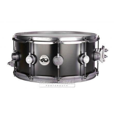 DW Collectors Series Satin Black Brass Snare Drum - 14x6.5 - Satin Chrome Hardware