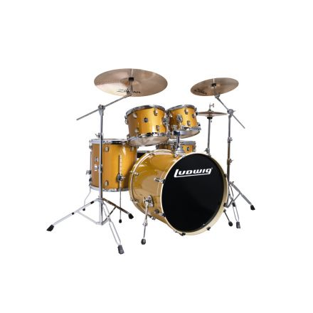 Ludwig Element Evolution 5pc Drum Set with Zildjian I Series Cymbals - 22 Set - Gold Sparkle