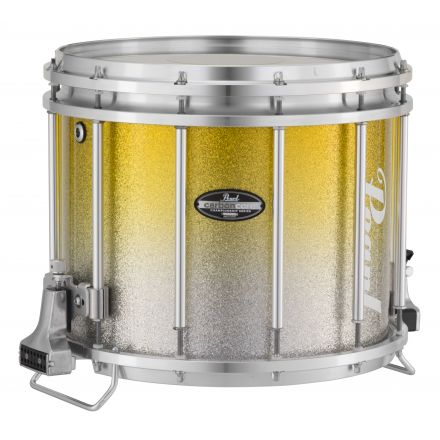 Pearl Marching Percussion: 13X11 Maple Carboncore Ffx Marching Snare Drum, W/R Ring #965 - Yellow Silver Fade (Top)