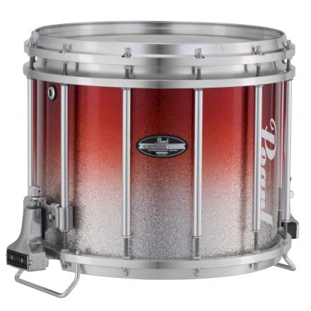 Pearl Marching Percussion: 13X11 Maple Carboncore Ffx Marching Snare Drum, W/R Ring #968 - Red Silver Fade (Top)
