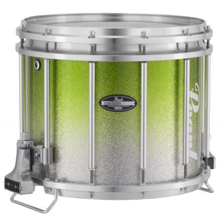 Pearl Marching Percussion: 13X11 Maple Carboncore Ffx Marching Snare Drum, W/R Ring #971 - Green Silver Fade (Top)