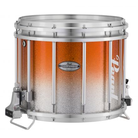 Pearl Marching Percussion: 13X11 Championship Maple Ffx Marching Snare Drum, W/R Ring #980 - Orange Silver Fade (Top)