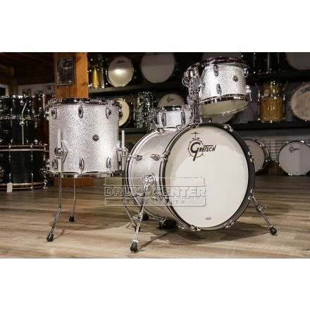 Gretsch Brooklyn 4pc Jazz Drum Set Silver Sparkle w/ Tom Arm