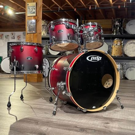 Used PDP FS Series 4pc Drum Set Red To Black Fade - No Snare
