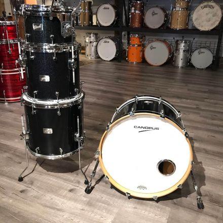 Used Canopus Birch 4pc Drum Set Black Sparkle