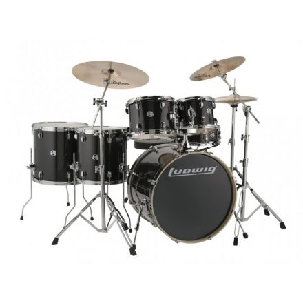 Ludwig Element Evolution 6pc Drum Set with Zildjian I Series Cymbals - 22 Set - Black Sparkle