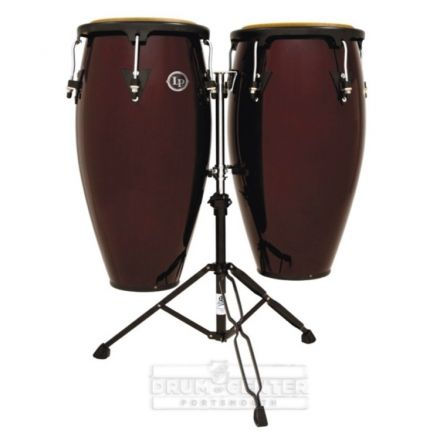 LP Aspire Wood Congas Set with Double Stand - Dark Wood Finish