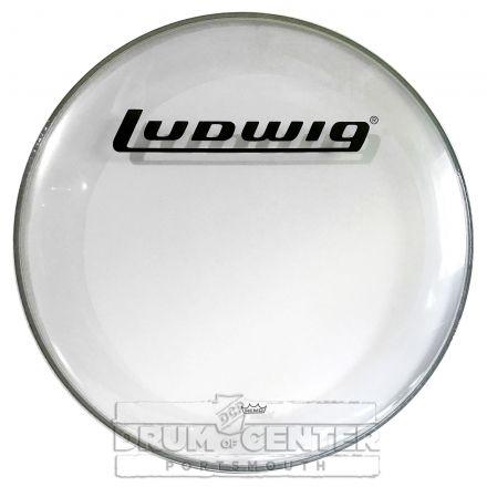 "Ludwig Bass Drum Logo Head : 24"" Powerstroke 3 Clear w/ Block Logo"
