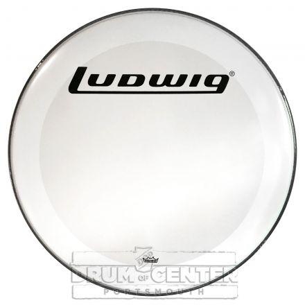 "Ludwig Bass Drum Logo Head : 26"" Powerstroke 3 Smooth White w/Block Logo"