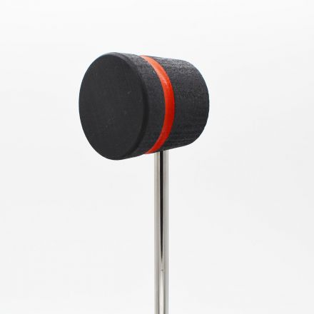 Low Boy Bass Drum Beaters - Lightweight, Black with Red Stripe