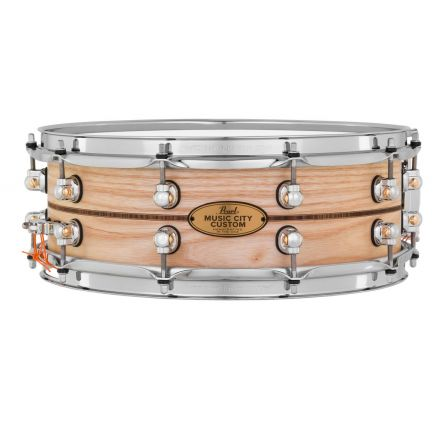 Pearl Music City Custom Solid Ash 14x5 Snare Drum - Natural With Kingwood Inlay