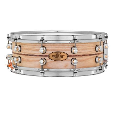 Pearl Music City Custom Solid Ash 14x5 Snare Drum - Natural With Boxwood-Rose Inlay