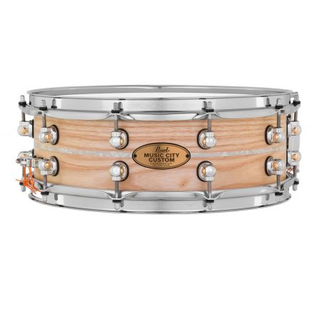 Pearl Music City Custom Solid Ash 14x5 Snare Drum - Natural With Marine Pearl Inlay