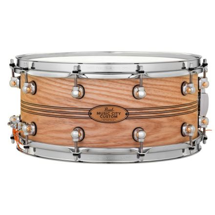 Pearl Music City Custom Solid Ash 14x6.5 Snare Drum - Natural With Boxwood-Rose Triband Inlay
