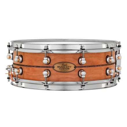 Pearl Music City Custom Solid Cherry 14x5 Snare Drum - Natural With Kingwood Inlay