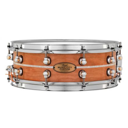 Pearl Music City Custom Solid Cherry 14x5 Snare Drum - Natural With Marine Pearl Inlay